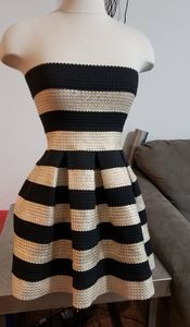 Black and gold stripe dress